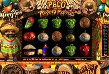 "Dreidimensionale Lebensfreude mit Online Spielautomat ""Paco and the popping Peppers"" von Betsoft."